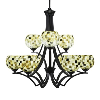 Zilo 9-Light Shaded Chandelier Shade Color: Sea Mist, Finish: Matte Black