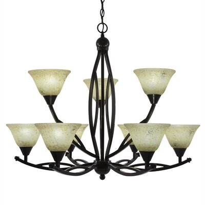 Blankenship 9-Light Glass Shaded Chandelier Finish: Black Copper, Shade Color: Italian