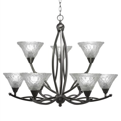 Eisenhauer 9-Light Clear Shaded Chandelier Finish: Brushed Nickel