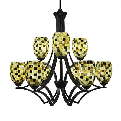Zilo 9-Light Shaded Chandelier Shade Color: Sea Haze, Finish: Matte Black