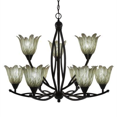 Bow 9-Light Shaded Chandelier Finish: Black Copper