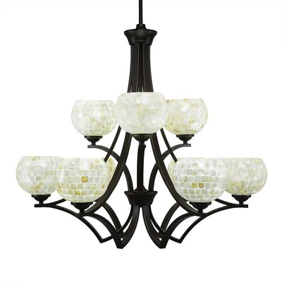Zilo 9-Light Shaded Chandelier Finish: Dark Granite, Shade Color: Mystic