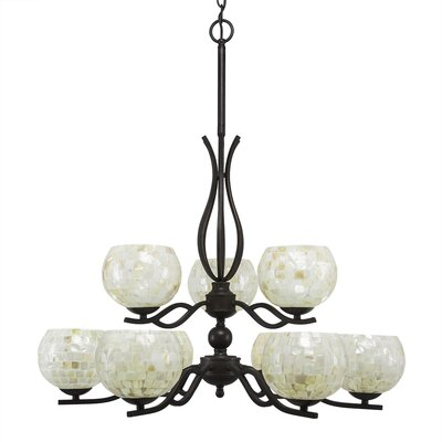 Revo 9-Light Shaded Chandelier Shade Color: Mystic