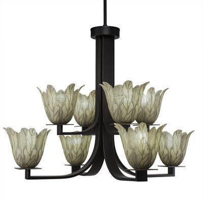 Blau 8-Light Glass Shaded Chandelier Finish: Dark Granite