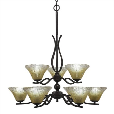 Revo 9-Light Shaded Chandelier Shade Color: Amber