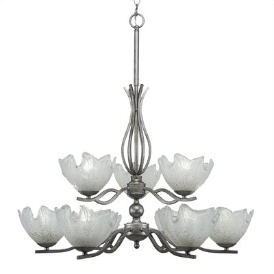 Revo 9-Light Shaded Chandelier Shade Color: Gold