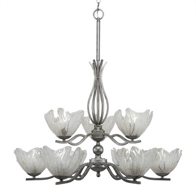 Revo 9-Light Shaded Chandelier Shade Color: Italian