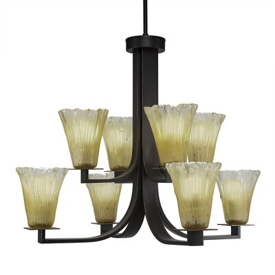 Blau 8-Light Shaded Chandelier Color: Dark Granite, Crystal Color: Amber