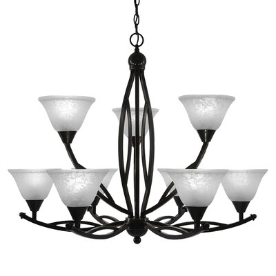 Blankenship 9-Light Glass Shaded Chandelier Finish: Black Copper, Shade Color: White