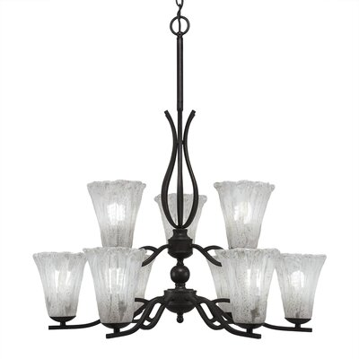 Revo 9-Light Shaded Chandelier Shade Color: Fluted Italian