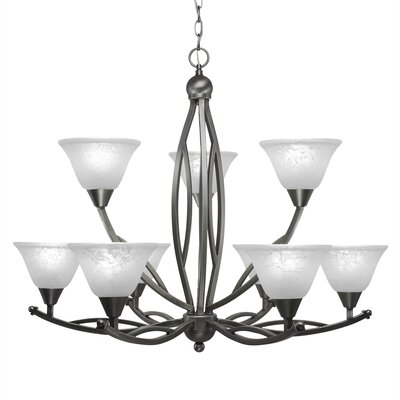 Blankenship 9-Light Glass Shaded Chandelier Shade Color: White, Finish: Brushed Nickel
