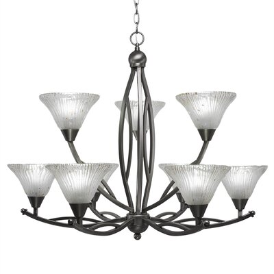 Bow 9-Light Shaded Chandelier Finish: Brushed Nickel, Shade: Frosted Crystal Glass Shade
