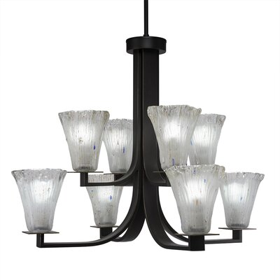 Blau 8-Light Shaded Chandelier Finish: Dark Granite, Crystal Color: Frosted