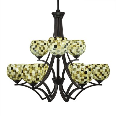 Zilo 9-Light Shaded Chandelier Finish: Dark Granite, Shade Color: Sea Mist