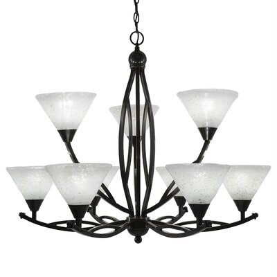 Eisenhauer 9-Light Glass Shaded Chandelier Finish: Brushed Nickel, Shade Color: Italian