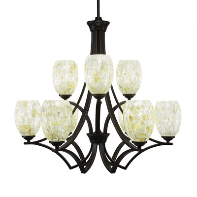Zilo 9-Light Shaded Chandelier Finish: Dark Granite, Shade Color: Ivory Glaze