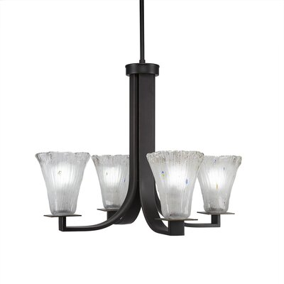 Elburn 4-Light Clear Shaded Chandelier Finish: Dark Granite