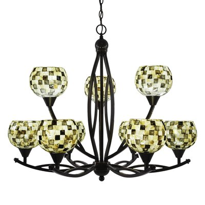 Bow 9-Light Shaded Chandelier Shade Color: Sea Mist