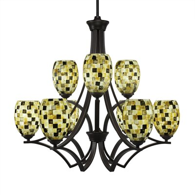 Zilo 9-Light Shaded Chandelier Finish: Dark Granite, Shade Color: Sea Haze