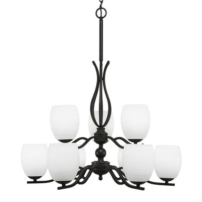 Revo 9-Light Shaded Chandelier Shade Color: Cayenne