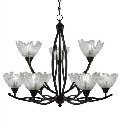 Eisenhauer 9-Light Shaded Chandelier Finish: Brushed Nickel, Shade Color: Gold