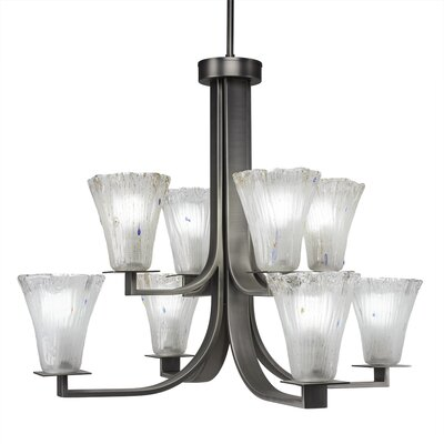 Blau 8-Light Shaded Chandelier Crystal Color: Frosted, Finish: Graphite