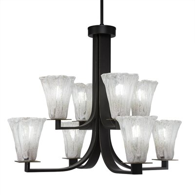 Elburn 8-Light Glass Shaded Chandelier Finish: Dark Granite