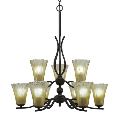 Revo 9-Light Shaded Chandelier Shade Color: Fluted Amber