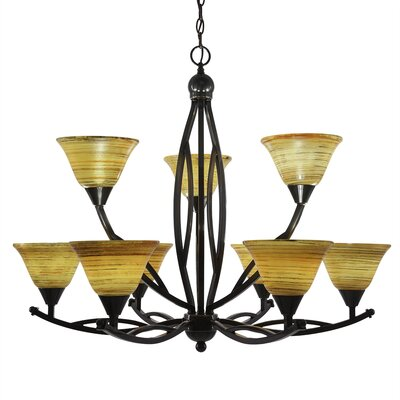Blankenship 9-Light Shaded Chandelier