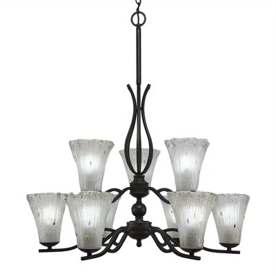 Revo 9-Light Shaded Chandelier Shade Color: Fluted Frosted