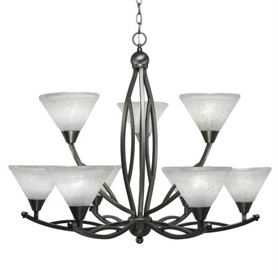 Eisenhauer 9-Light Glass Shaded Chandelier Shade Color: Gold, Finish: Brushed Nickel