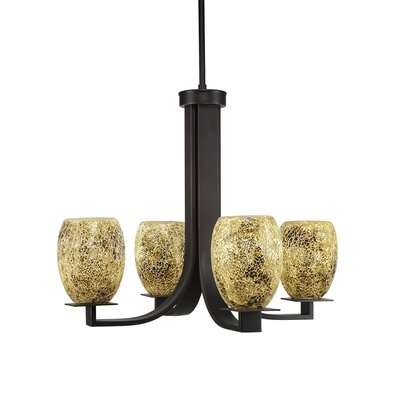 Elburn 4-Light Dark Granite Shaded Chandelier
