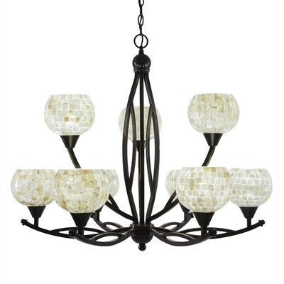 Bow 9-Light Shaded Chandelier Shade Color: Mystic