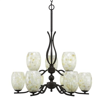 Revo 9-Light Shaded Chandelier Shade Color: Ivory Glaze