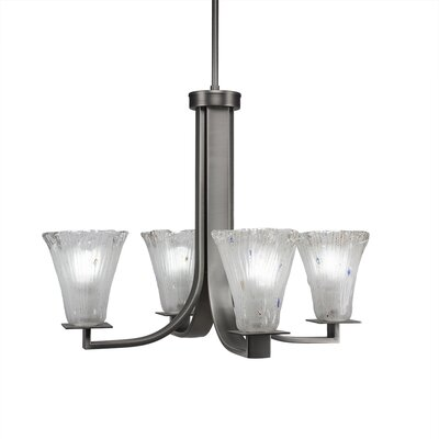 Elburn 4-Light Clear Shaded Chandelier Finish: Graphite