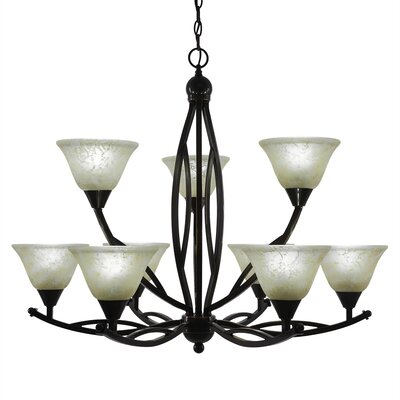 Blankenship 9-Light Glass Shaded Chandelier Color: Black Copper, Shade Color: Amber