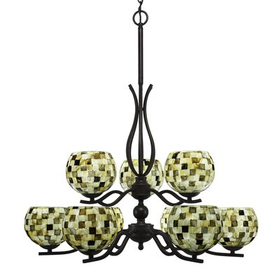 Revo 9-Light Shaded Chandelier Shade Color: Sea Mist