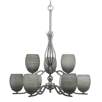 Revo 9-Light Shaded Chandelier Shade Color: Gray
