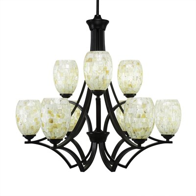 Zilo 9-Light Shaded Chandelier Shade Color: Ivory Glaze, Finish: Matte Black