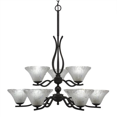 Revo 9-Light Shaded Chandelier Shade Color: Frosted