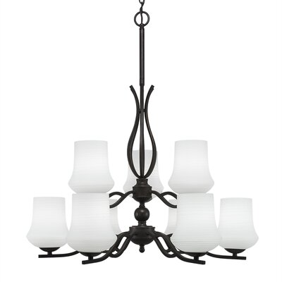 Revo 9-Light Shaded Chandelier Shade Color: White