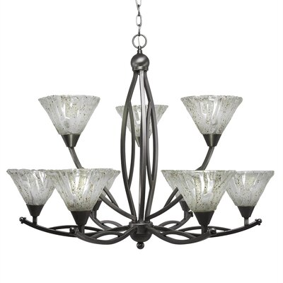 Eisenhauer 9-Light Glass Shaded Chandelier Shade Color: Italian, Finish: Brushed Nickel