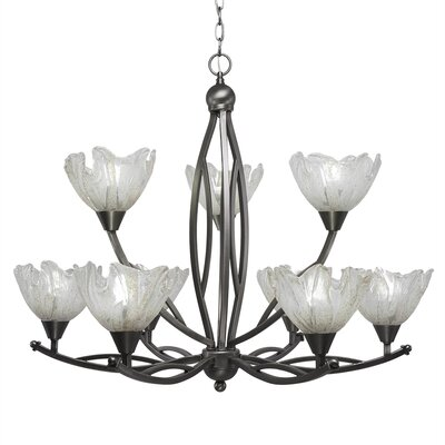 Eisenhauer 9-Light Shaded Chandelier Finish: Brushed Nickel, Shade Color: Italian