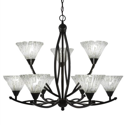 Eisenhauer 9-Light Shaded Chandelier Finish: Black Copper, Shade Color: Italian