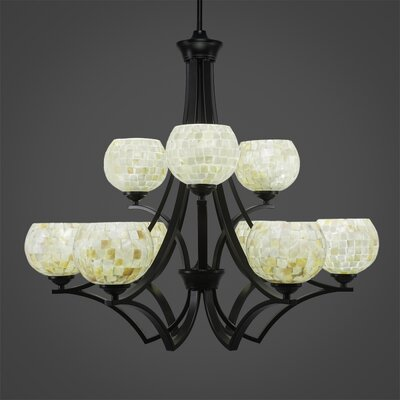 Zilo 9-Light Shaded Chandelier Finish: Matte Black, Shade Color: Mystic