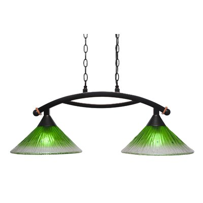 Blankenship 2-Light Glass Shade Kitchen Island Pendant Shade Color: Kiwi Green
