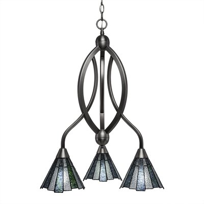 Austinburg 3-Light Glass/Crystal Shaded Chandelier Color: Brushed Nickel
