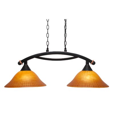Blankenship 2-Light Black Copper Metal Kitchen Island Pendant