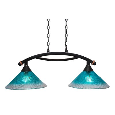 Blankenship 2-Light Glass Shade Kitchen Island Pendant Shade Color: Teal