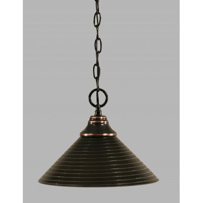 1-Light Bowl Pendant Finish: Black Copper, Size: 12 W